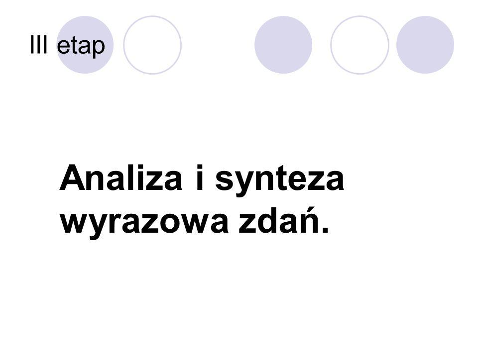 III etap Analiza i synteza wyrazowa zdań.