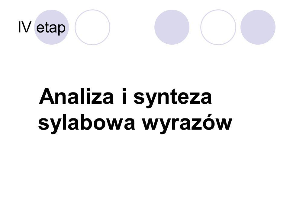 IV etap Analiza i synteza sylabowa wyrazów