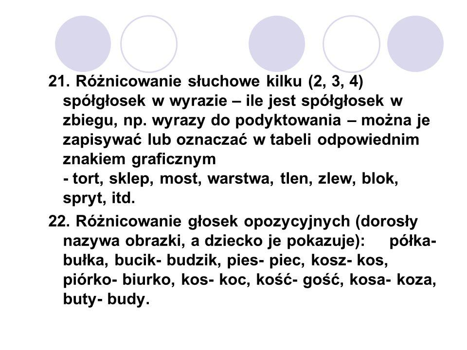 21. Różnicowanie słuchowe kilku (2, 3, 4) spółgłosek w wyrazie – ile jest spółgłosek w zbiegu, np. wyrazy do podyktowania – można je zapisywać lub ozn