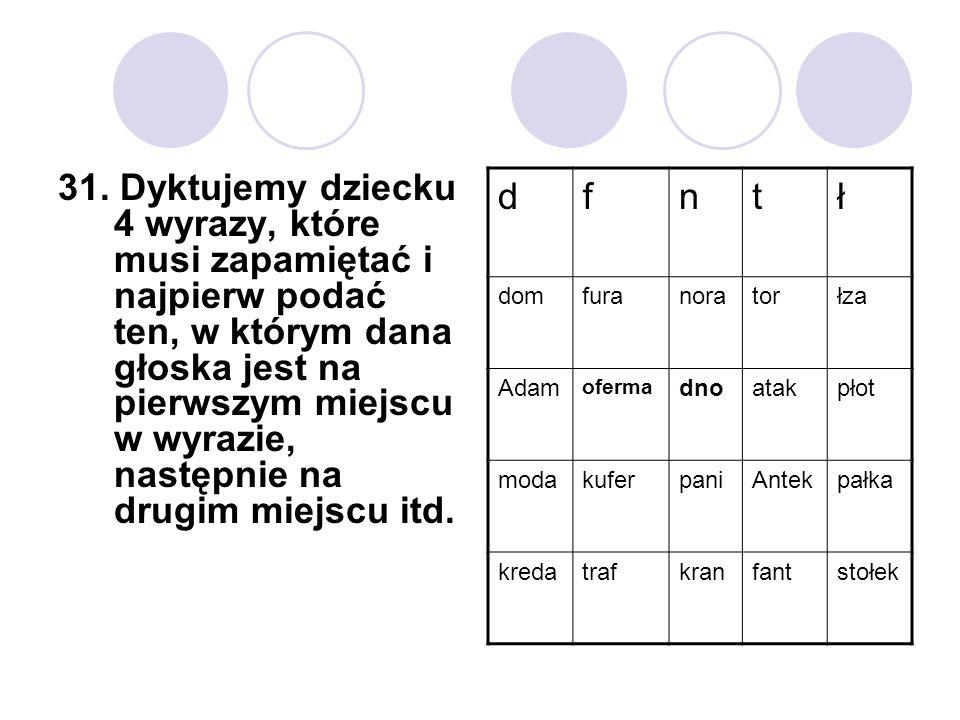 31. Dyktujemy dziecku 4 wyrazy, które musi zapamiętać i najpierw podać ten, w którym dana głoska jest na pierwszym miejscu w wyrazie, następnie na dru