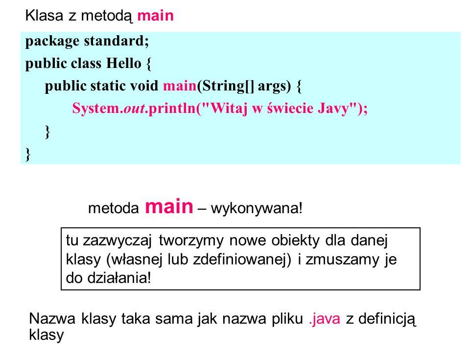 package standard; public class Hello { public static void main(String[] args) { System.out.println( Witaj w świecie Javy ); } metoda main – wykonywana.