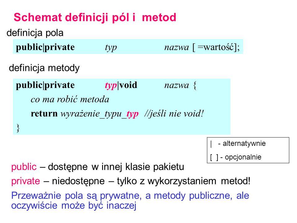 Schemat definicji pól i metod definicja pola public|privatetypnazwa [ =wartość]; public|privatetyp|voidnazwa { co ma robić metoda return wyrażenie_typu_typ //jeśli nie void.