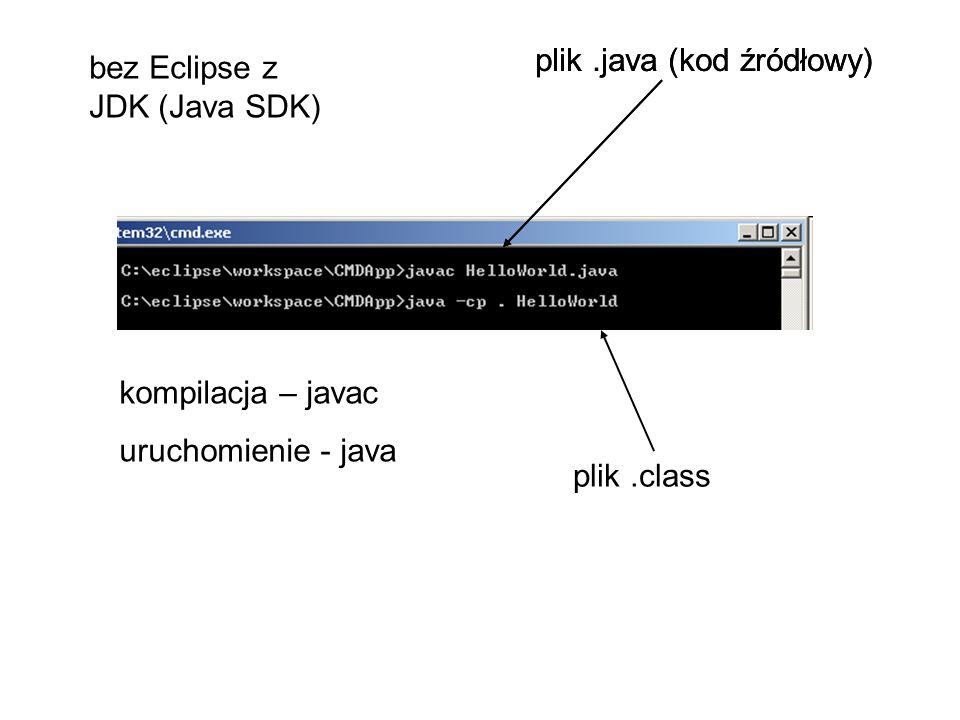 kompilacja – javac uruchomienie - java plik.java (kod źródłowy) plik.class bez Eclipse z JDK (Java SDK)