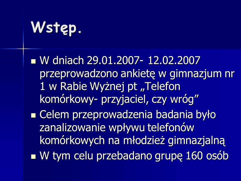 Wstęp. W dniach 29.01.2007- 12.02.2007 przeprowadzono ankietę w gimnazjum nr 1 w Rabie Wyżnej pt Telefon komórkowy- przyjaciel, czy wróg W dniach 29.0