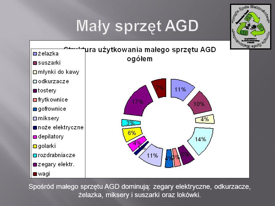 Spośród małego sprzętu AGD dominują: zegary elektryczne, odkurzacze, żelazka, miksery i suszarki oraz lokówki.