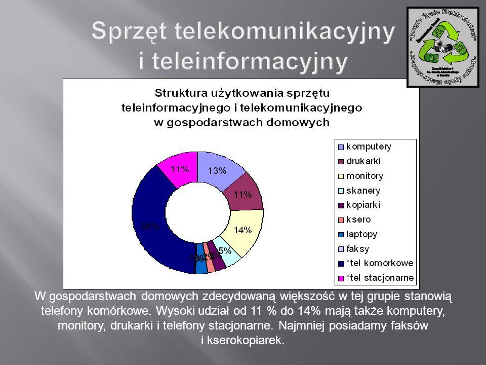 W gospodarstwach domowych zdecydowaną większość w tej grupie stanowią telefony komórkowe. Wysoki udział od 11 % do 14% mają także komputery, monitory,