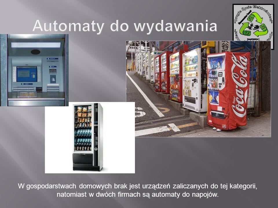 W gospodarstwach domowych brak jest urządzeń zaliczanych do tej kategorii, natomiast w dwóch firmach są automaty do napojów.