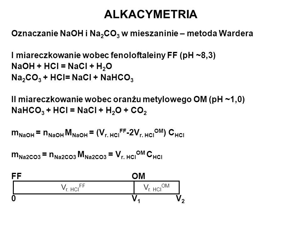 ALKACYMETRIA Oznaczanie NaOH i Na 2 CO 3 w mieszaninie – metoda Wardera I miareczkowanie wobec fenoloftaleiny FF (pH ~8,3) NaOH + HCl = NaCl + H 2 O N