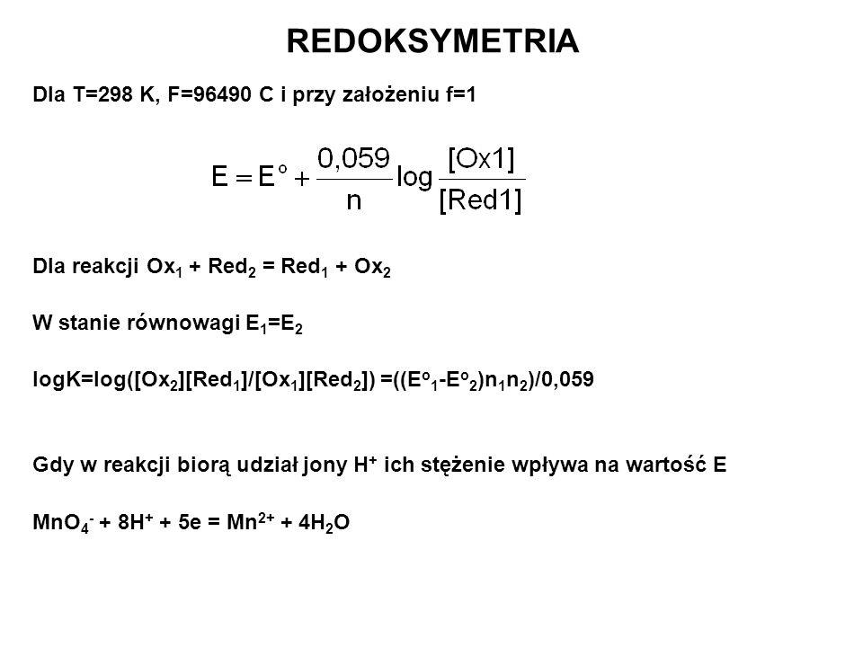 Dla T=298 K, F=96490 C i przy założeniu f=1 Dla reakcji Ox 1 + Red 2 = Red 1 + Ox 2 W stanie równowagi E 1 =E 2 logK=log([Ox 2 ][Red 1 ]/[Ox 1 ][Red 2