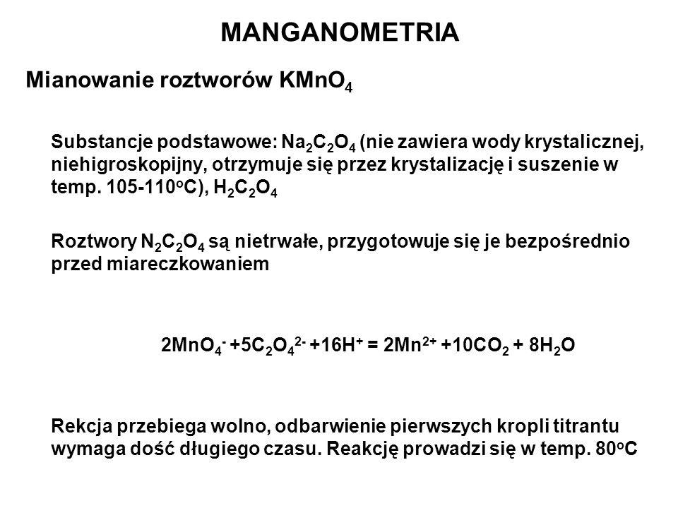 Mianowanie roztworów KMnO 4 Substancje podstawowe: Na 2 C 2 O 4 (nie zawiera wody krystalicznej, niehigroskopijny, otrzymuje się przez krystalizację i