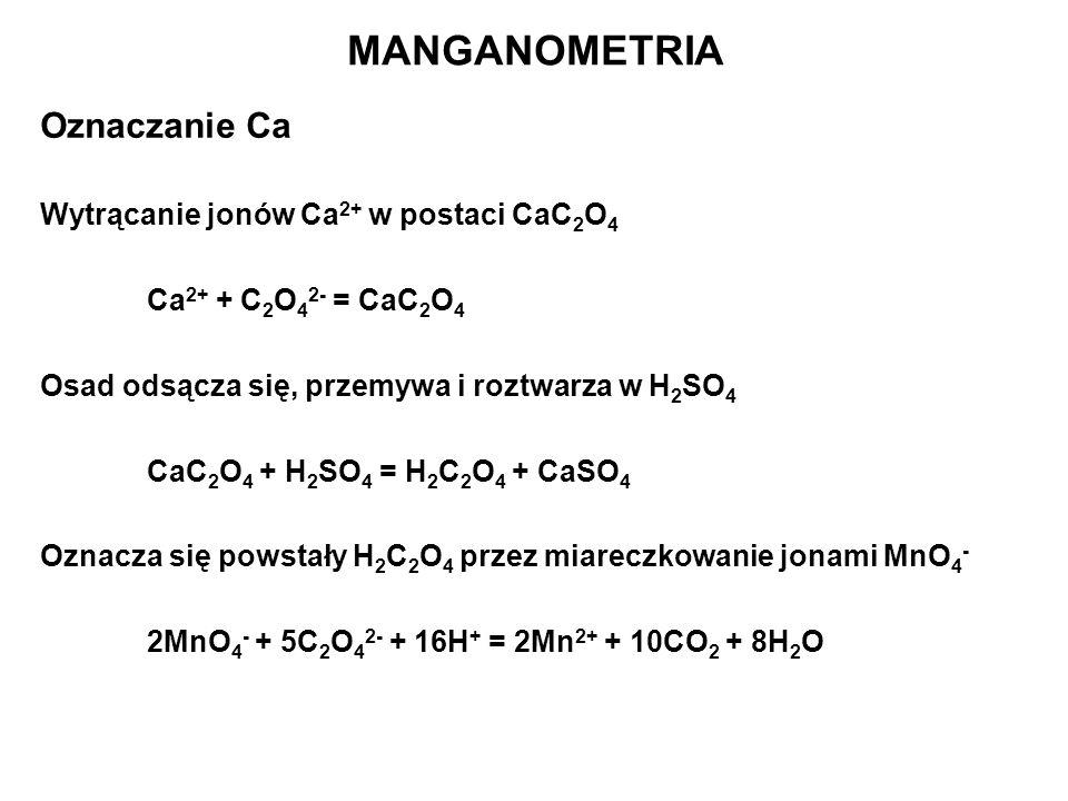 Oznaczanie Ca Wytrącanie jonów Ca 2+ w postaci CaC 2 O 4 Ca 2+ + C 2 O 4 2- = CaC 2 O 4 Osad odsącza się, przemywa i roztwarza w H 2 SO 4 CaC 2 O 4 +