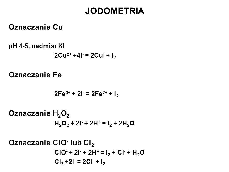 Oznaczanie Cu pH 4-5, nadmiar KI 2Cu 2+ +4I - = 2CuI + I 2 Oznaczanie Fe 2Fe 3+ + 2I - = 2Fe 2+ + I 2 Oznaczanie H 2 O 2 H 2 O 2 + 2I - + 2H + = I 2 +