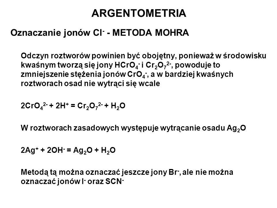 Oznaczanie jonów Cl - - METODA MOHRA Odczyn roztworów powinien być obojętny, ponieważ w środowisku kwaśnym tworzą się jony HCrO 4 - i Cr 2 O 7 2-, pow