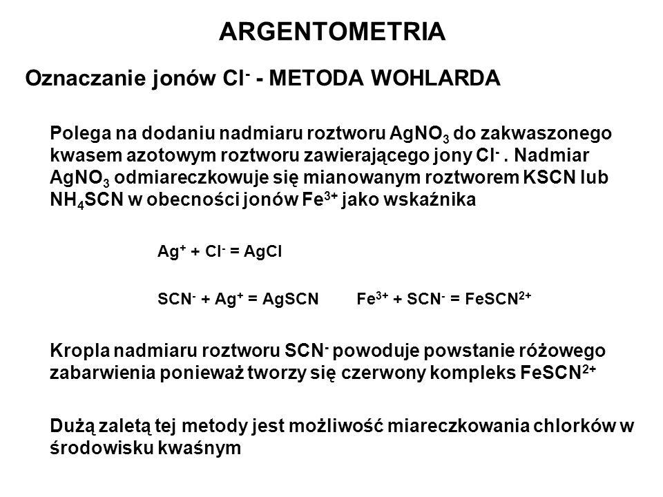 Oznaczanie jonów Cl - - METODA WOHLARDA Polega na dodaniu nadmiaru roztworu AgNO 3 do zakwaszonego kwasem azotowym roztworu zawierającego jony Cl -. N