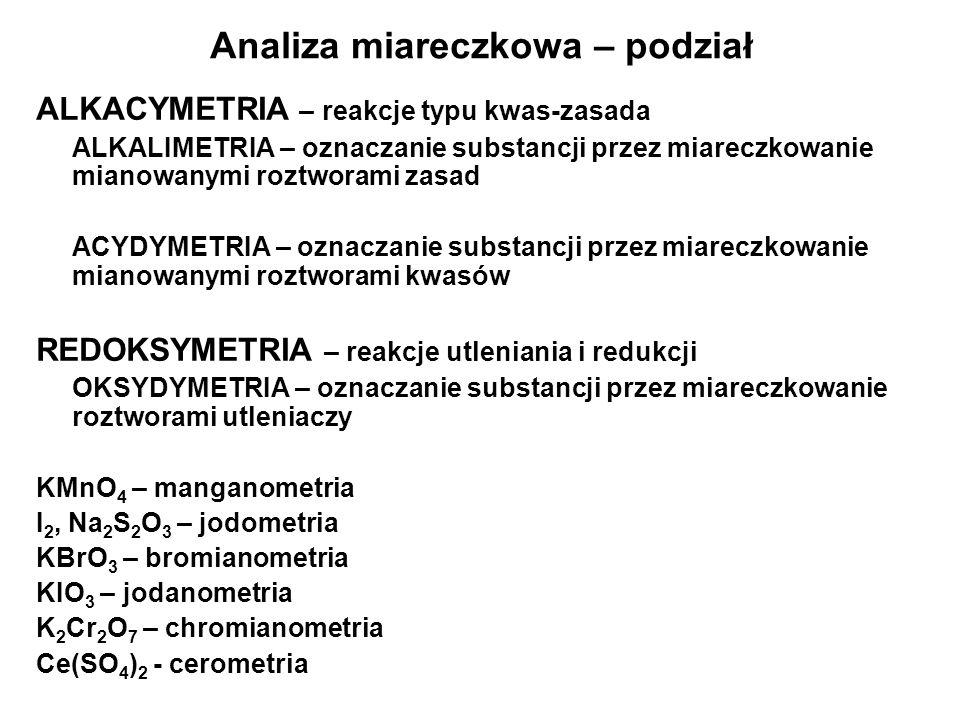 Analiza miareczkowa – podział ALKACYMETRIA – reakcje typu kwas-zasada ALKALIMETRIA – oznaczanie substancji przez miareczkowanie mianowanymi roztworami