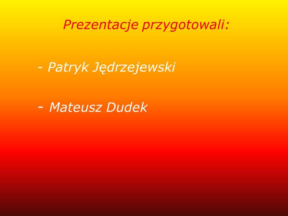 Prezentacje przygotowali: - Patryk Jędrzejewski - Mateusz Dudek