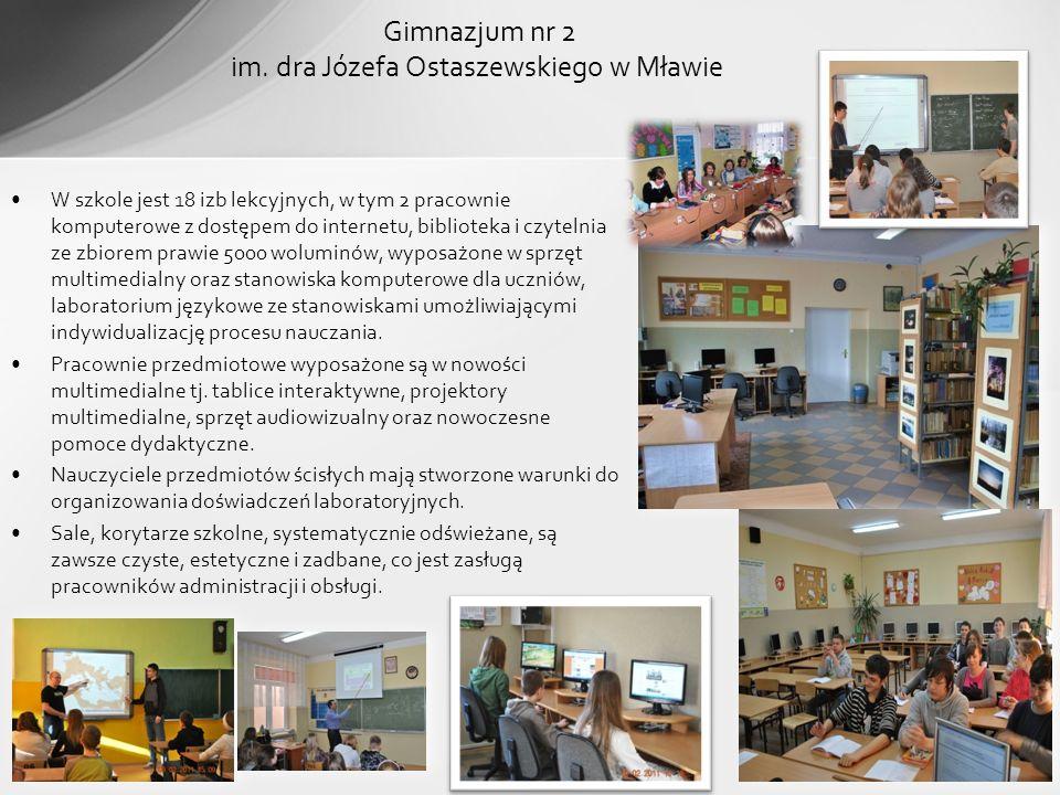 W szkole jest 18 izb lekcyjnych, w tym 2 pracownie komputerowe z dostępem do internetu, biblioteka i czytelnia ze zbiorem prawie 5000 woluminów, wypos