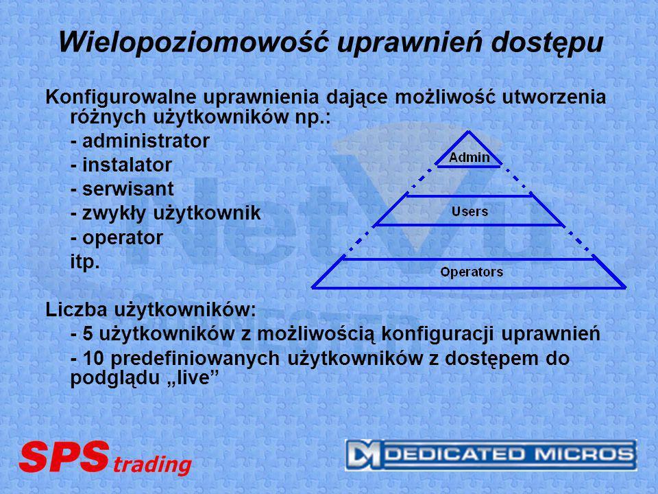 Wielopoziomowość uprawnień dostępu Konfigurowalne uprawnienia dające możliwość utworzenia różnych użytkowników np.: - administrator - instalator - ser