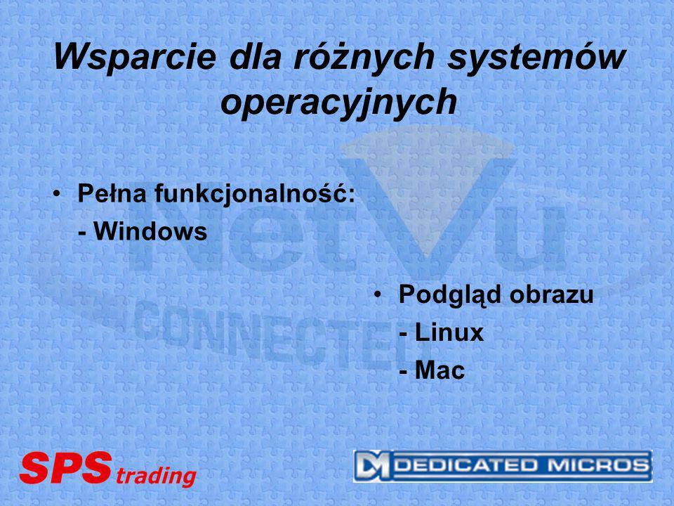 Wsparcie dla różnych systemów operacyjnych Pełna funkcjonalność: - Windows Podgląd obrazu - Linux - Mac