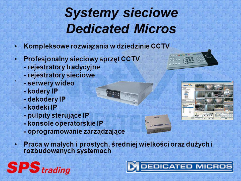 Systemy sieciowe Dedicated Micros Kompleksowe rozwiązania w dziedzinie CCTV Profesjonalny sieciowy sprzęt CCTV - rejestratory tradycyjne - rejestrator