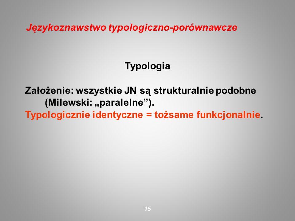 Typologia Założenie: wszystkie JN są strukturalnie podobne (Milewski: paralelne). Typologicznie identyczne = tożsame funkcjonalnie. 15 Językoznawstwo