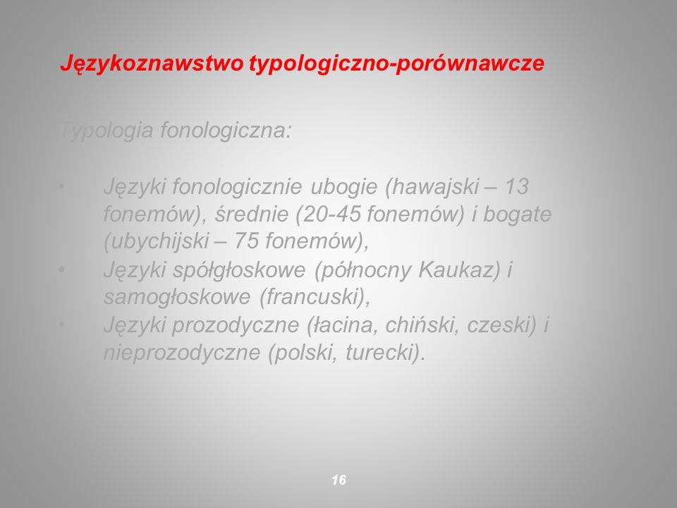 Typologia fonologiczna: Języki fonologicznie ubogie (hawajski – 13 fonemów), średnie (20-45 fonemów) i bogate (ubychijski – 75 fonemów), Języki spółgł