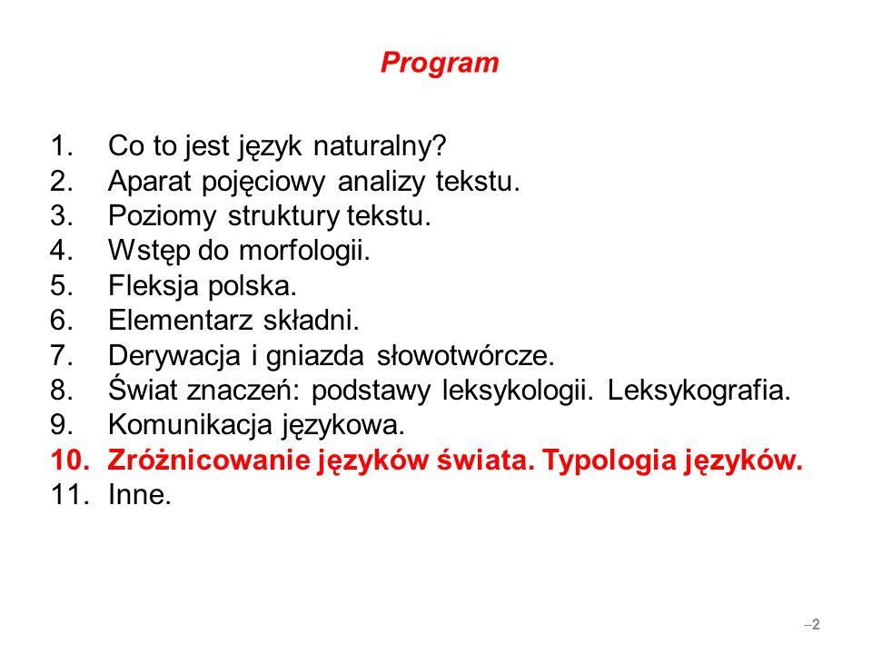 Program 1.Co to jest język naturalny? 2.Aparat pojęciowy analizy tekstu. 3.Poziomy struktury tekstu. 4.Wstęp do morfologii. 5.Fleksja polska. 6.Elemen