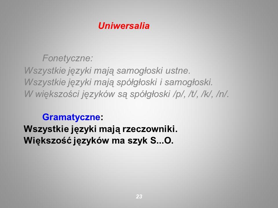 Fonetyczne: Wszystkie języki mają samogłoski ustne. Wszystkie języki mają spółgłoski i samogłoski. W większości języków są spółgłoski /p/, /t/, /k/, /