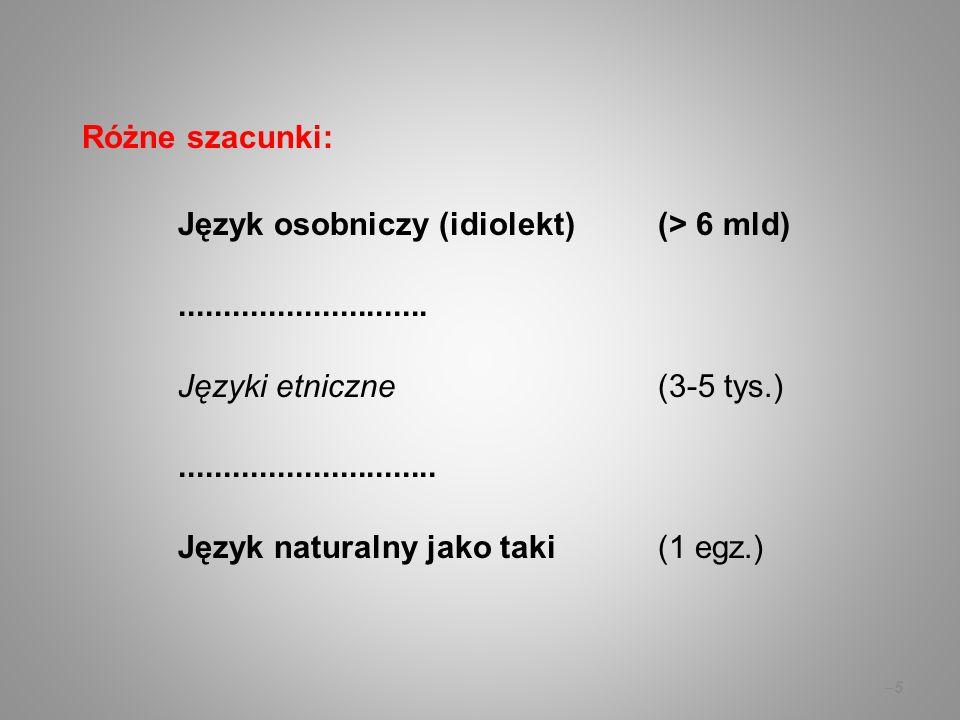 Różne szacunki: Język osobniczy (idiolekt) (> 6 mld)............................ Języki etniczne(3-5 tys.)............................. Język naturaln