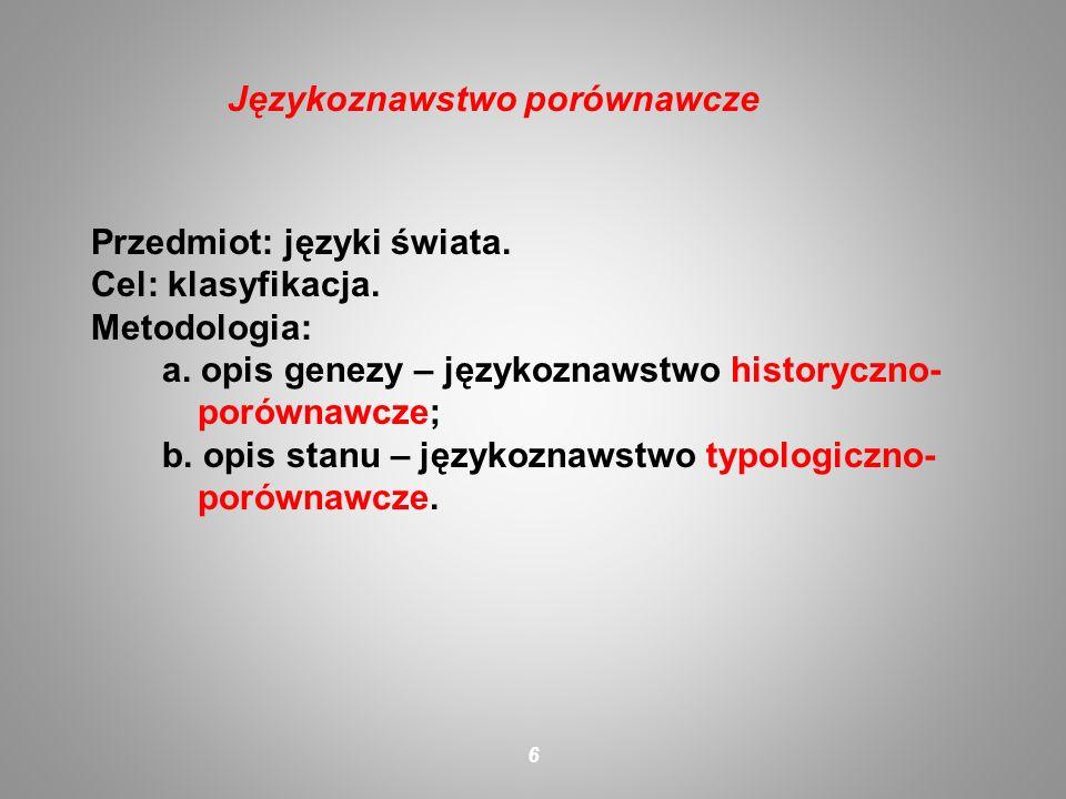 Przedmiot: języki świata. Cel: klasyfikacja. Metodologia: a. opis genezy – językoznawstwo historyczno- porównawcze; b. opis stanu – językoznawstwo typ