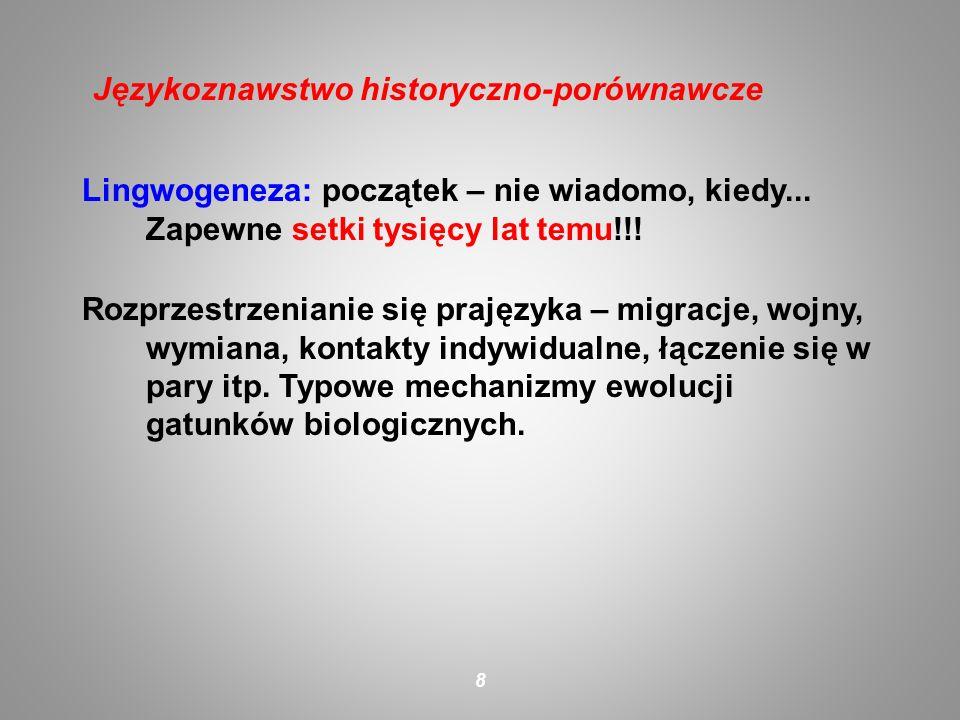 Lingwogeneza: początek – nie wiadomo, kiedy... Zapewne setki tysięcy lat temu!!! Rozprzestrzenianie się prajęzyka – migracje, wojny, wymiana, kontakty