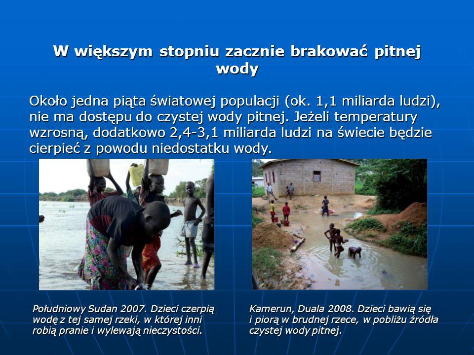 W większym stopniu zacznie brakować pitnej wody Około jedna piąta światowej populacji (ok. 1,1 miliarda ludzi), nie ma dostępu do czystej wody pitnej.
