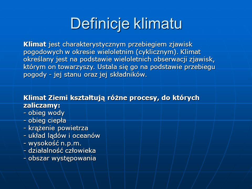Definicje klimatu Klimat jest charakterystycznym przebiegiem zjawisk pogodowych w okresie wieloletnim (cyklicznym). Klimat określany jest na podstawie