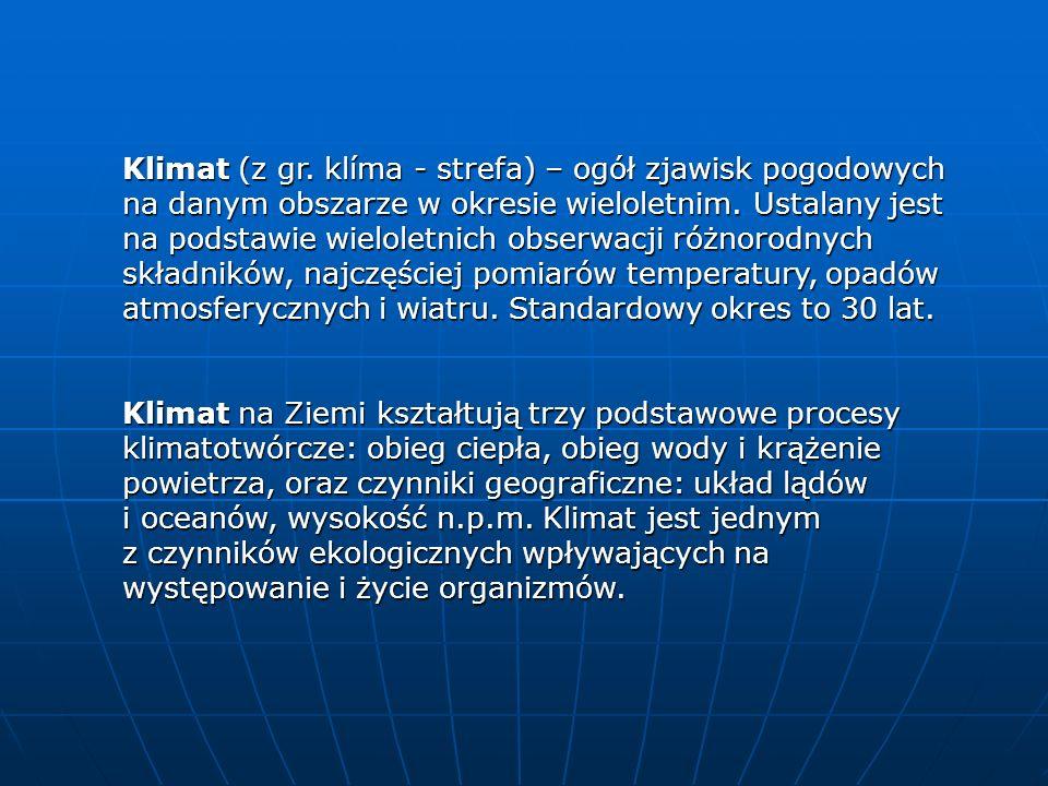 Klimat (z gr. klíma - strefa) – ogół zjawisk pogodowych na danym obszarze w okresie wieloletnim. Ustalany jest na podstawie wieloletnich obserwacji ró