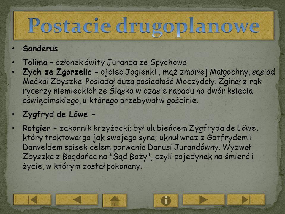 Sanderus Tolima – członek świty Juranda ze Spychowa Zych ze Zgorzelic – ojciec Jagienki, mąż zmarłej Małgochny, sąsiad Maćkai Zbyszka. Posiadał dużą p