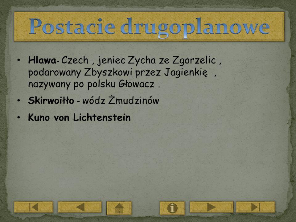 Hlawa - Czech, jeniec Zycha ze Zgorzelic, podarowany Zbyszkowi przez Jagienkię, nazywany po polsku Głowacz. Skirwoiłło – wódz Żmudzinów Kuno von Licht