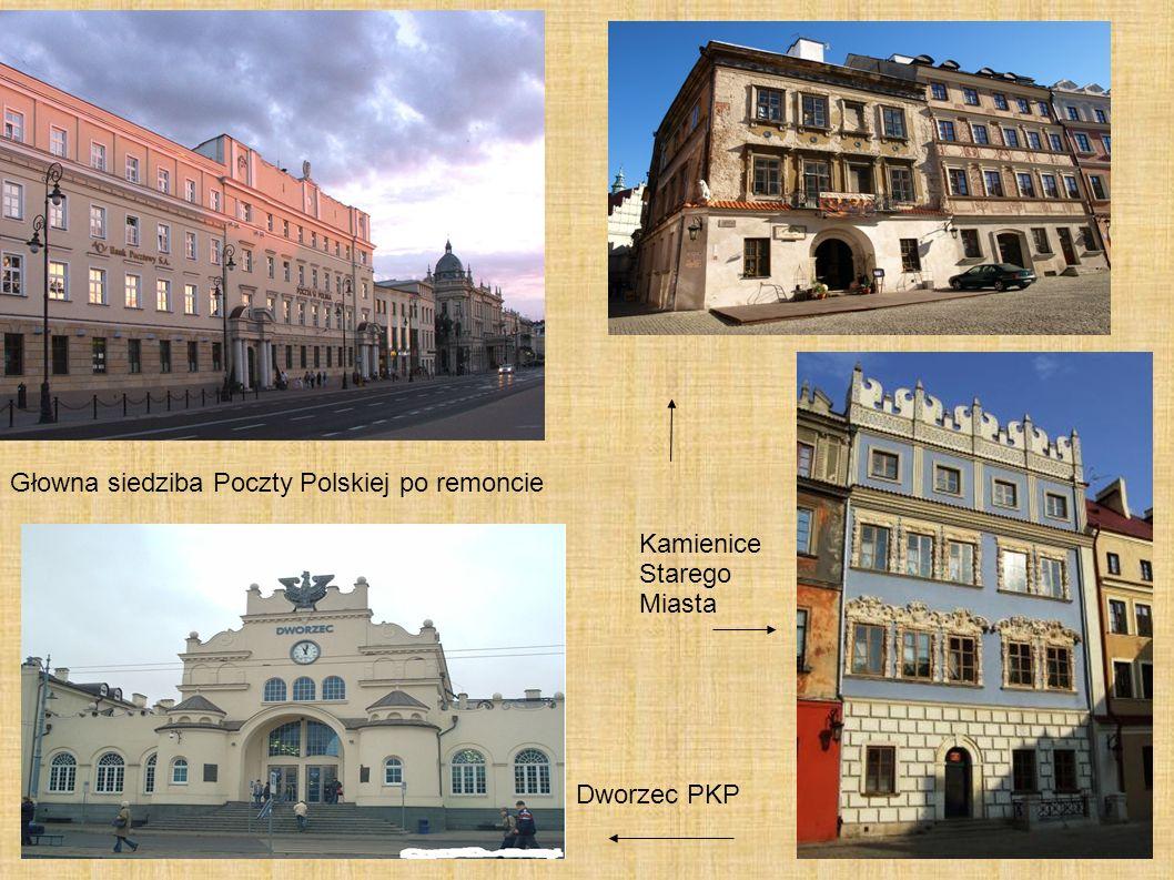 Głowna siedziba Poczty Polskiej po remoncie Dworzec PKP Kamienice Starego Miasta