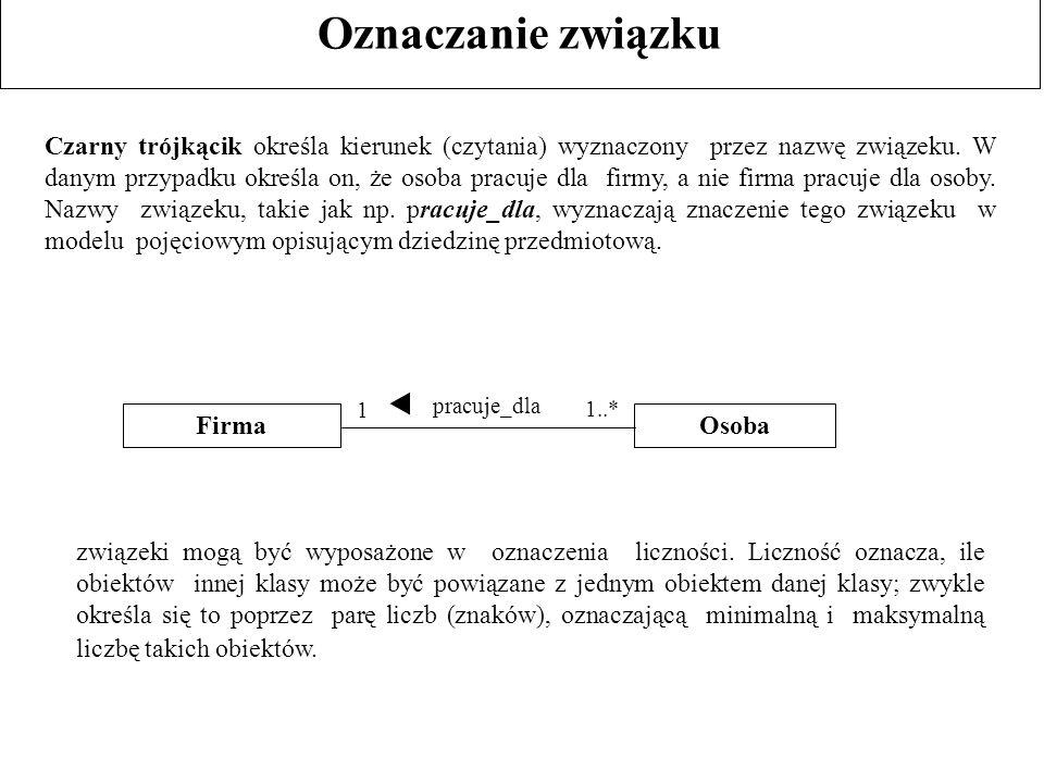 Oznaczanie związku Czarny trójkącik określa kierunek (czytania) wyznaczony przez nazwę związeku. W danym przypadku określa on, że osoba pracuje dla fi