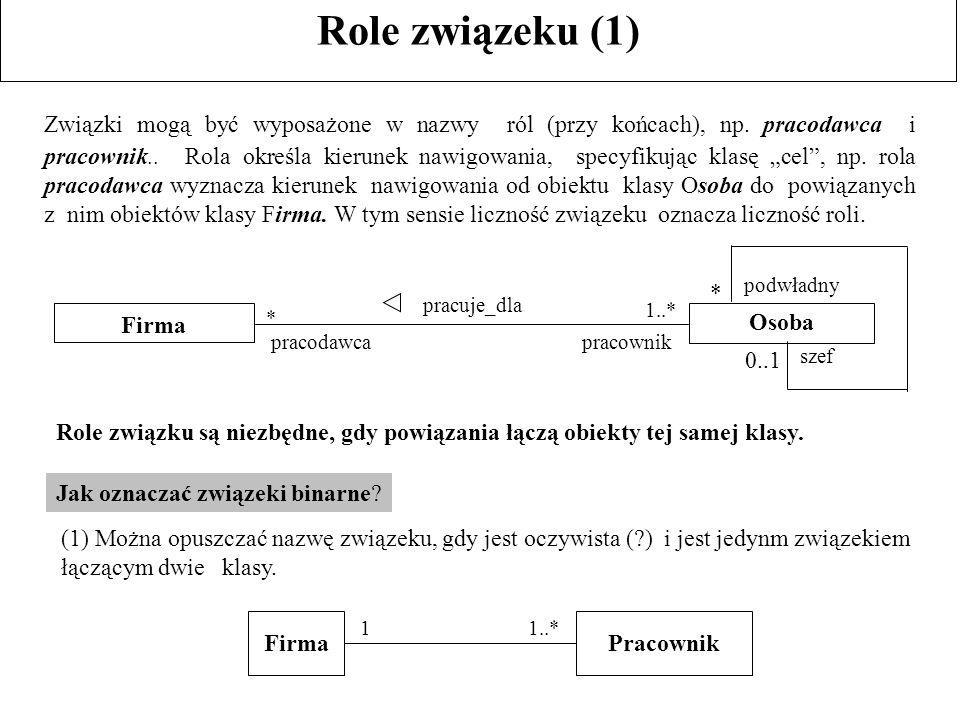 Role związeku (1) Związki mogą być wyposażone w nazwy ról (przy końcach), np. pracodawca i pracownik.. Rola określa kierunek nawigowania, specyfikując