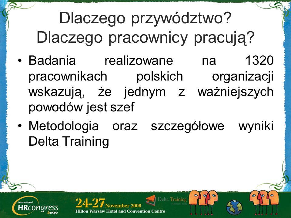 Dlaczego przywództwo? Dlaczego pracownicy pracują? Badania realizowane na 1320 pracownikach polskich organizacji wskazują, że jednym z ważniejszych po