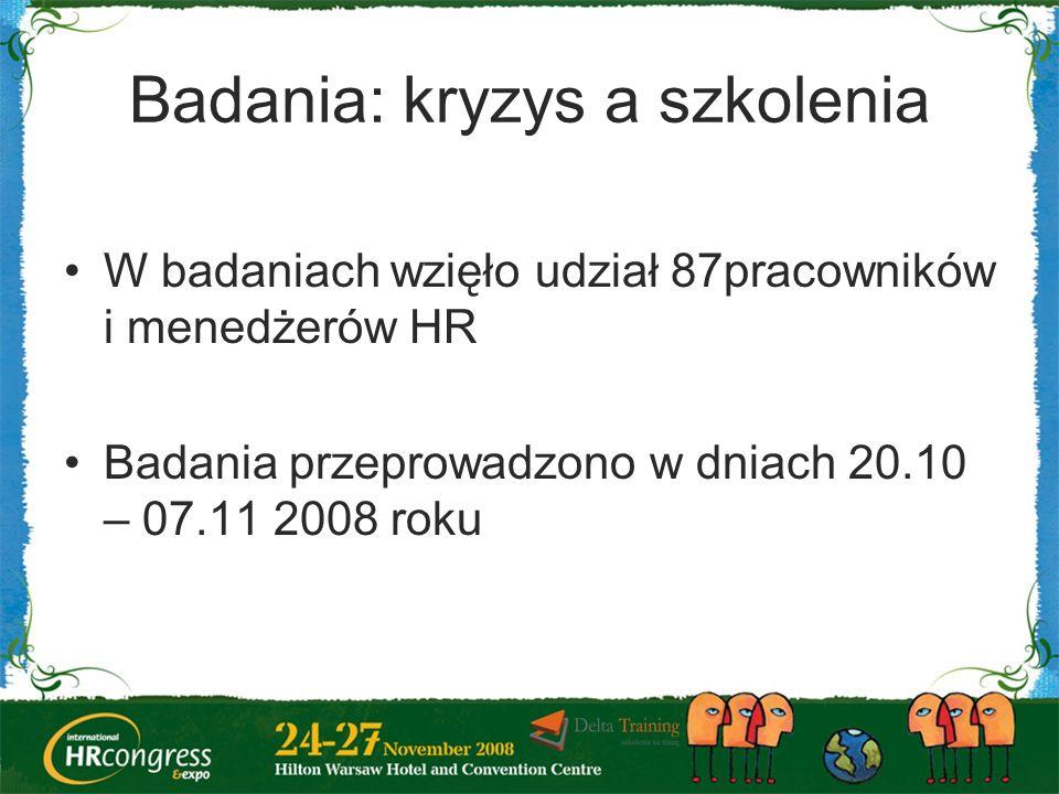 Badania: kryzys a szkolenia W badaniach wzięło udział 87pracowników i menedżerów HR Badania przeprowadzono w dniach 20.10 – 07.11 2008 roku