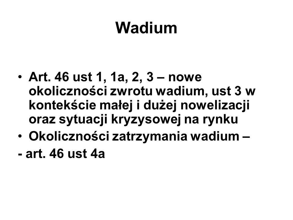 Wadium Art. 46 ust 1, 1a, 2, 3 – nowe okoliczności zwrotu wadium, ust 3 w kontekście małej i dużej nowelizacji oraz sytuacji kryzysowej na rynku Okoli