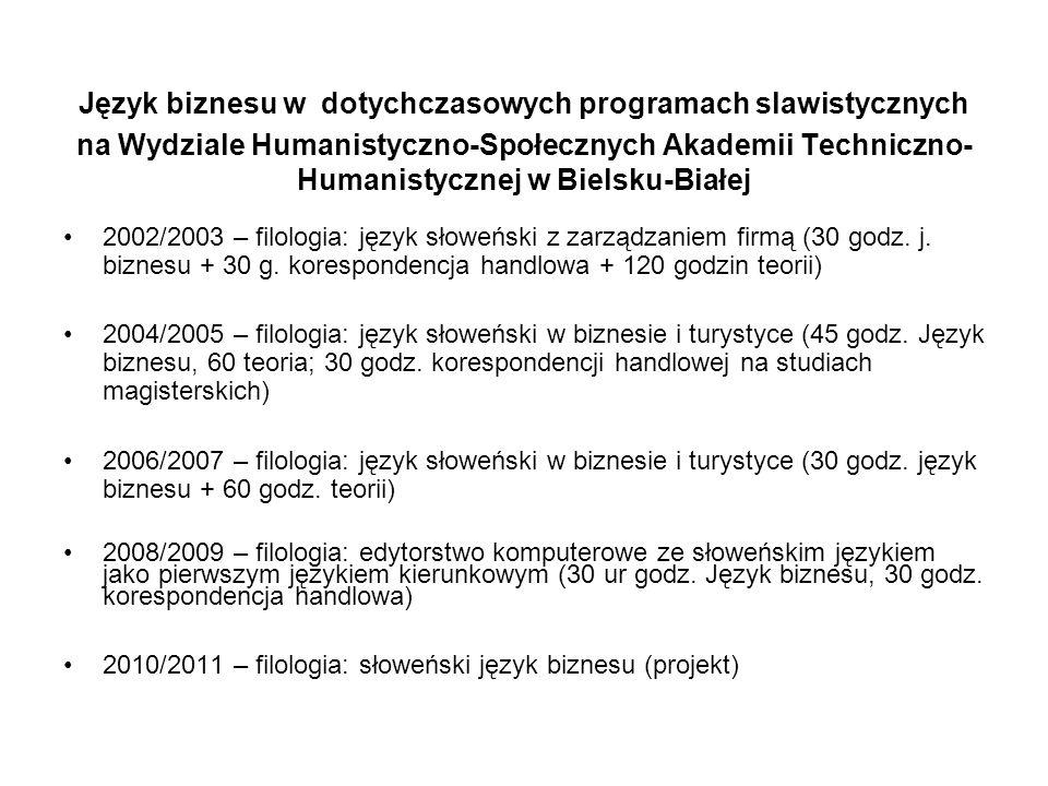 Język biznesu w dotychczasowych programach slawistycznych na Wydziale Humanistyczno-Społecznych Akademii Techniczno- Humanistycznej w Bielsku-Białej 2002/2003 – filologia: język słoweński z zarządzaniem firmą (30 godz.