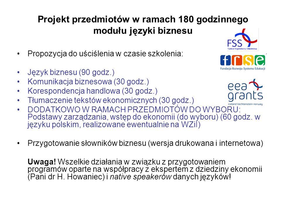 Projekt przedmiotów w ramach 180 godzinnego modułu języki biznesu Propozycja do uściślenia w czasie szkolenia: Język biznesu (90 godz.) Komunikacja biznesowa (30 godz.) Korespondencja handlowa (30 godz.) Tłumaczenie tekstów ekonomicznych (30 godz.) DODATKOWO W RAMACH PRZEDMIOTÓW DO WYBORU: Podstawy zarządzania, wstęp do ekonomii (do wyboru) (60 godz.
