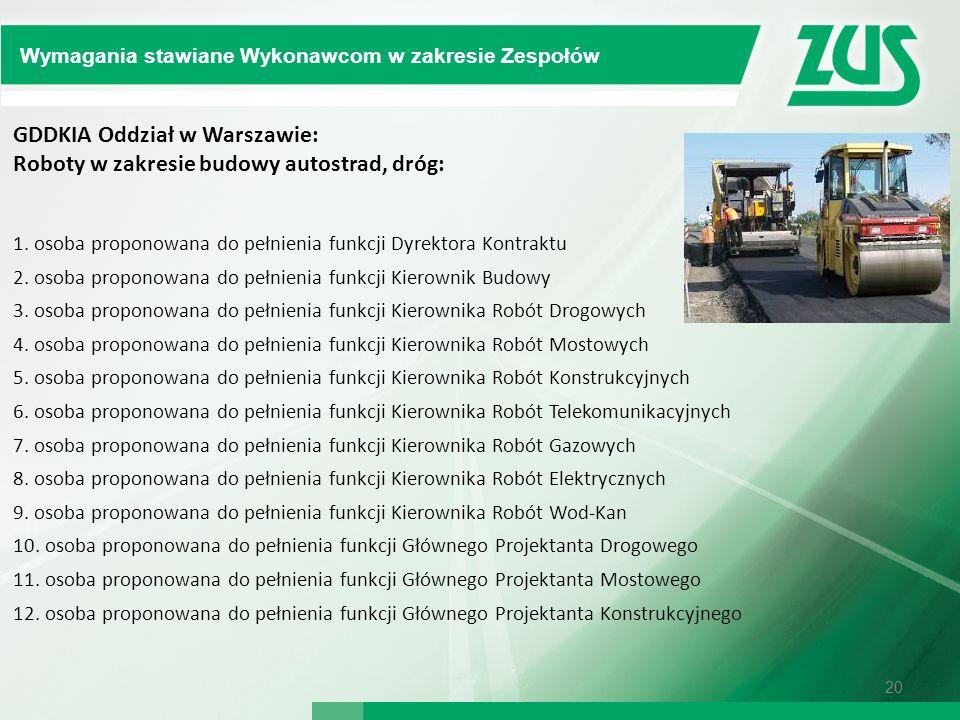 GDDKIA Oddział w Warszawie: Roboty w zakresie budowy autostrad, dróg: 1. osoba proponowana do pełnienia funkcji Dyrektora Kontraktu 2. osoba proponowa