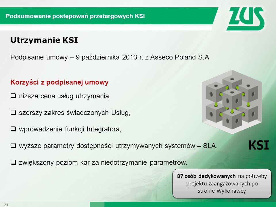 Utrzymanie KSI Podpisanie umowy – 9 października 2013 r. z Asseco Poland S.A Korzyści z podpisanej umowy niższa cena usług utrzymania, szerszy zakres