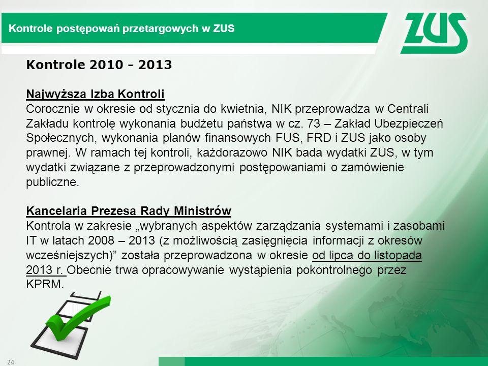 Kontrole postępowań przetargowych w ZUS Kontrole 2010 - 2013 Najwyższa Izba Kontroli Corocznie w okresie od stycznia do kwietnia, NIK przeprowadza w C