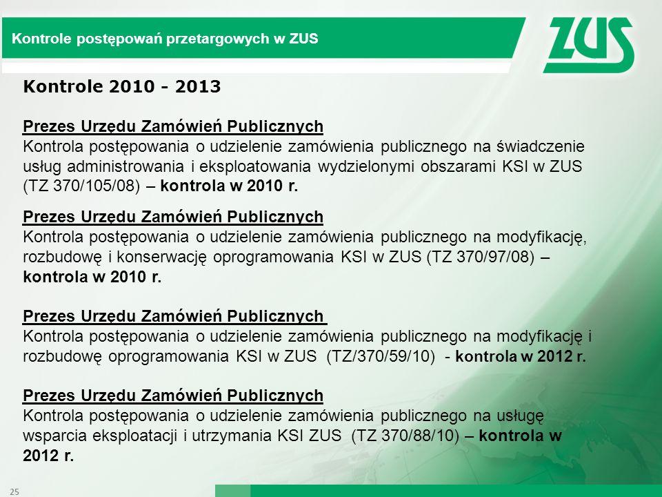 Kontrole postępowań przetargowych w ZUS Kontrole 2010 - 2013 Prezes Urzędu Zamówień Publicznych Kontrola postępowania o udzielenie zamówienia publiczn