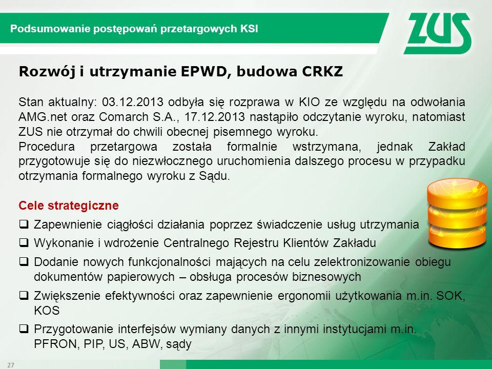 Rozwój i utrzymanie EPWD, budowa CRKZ Stan aktualny: 03.12.2013 odbyła się rozprawa w KIO ze względu na odwołania AMG.net oraz Comarch S.A., 17.12.201