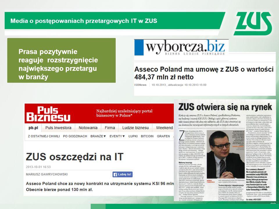 32 Dywersyfikacja IT w mediach Prasa pozytywnie reaguje rozstrzygnięcie największego przetargu w branży Kompleksowy System Informatyczny Media o postę
